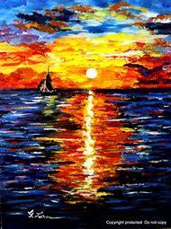 Beautiful Ocean Sunset Drawings