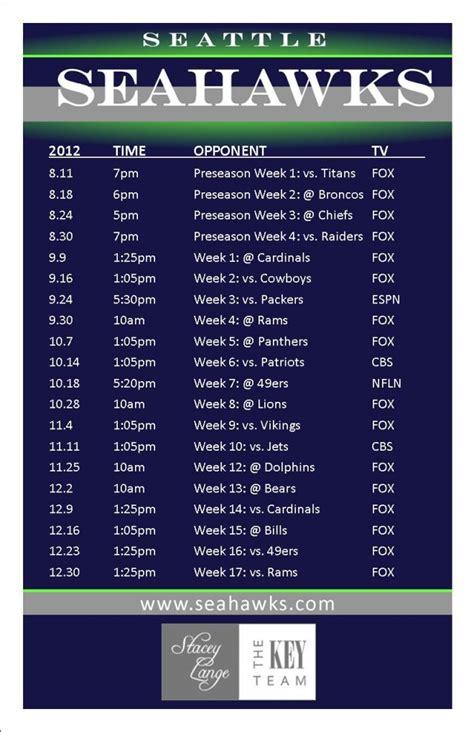 seahawks schedule  channel