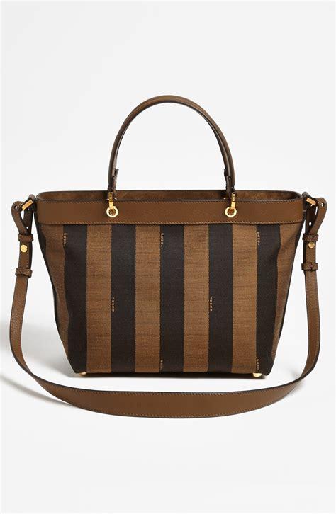 Fendi Pequin Logo Jacquard Tote Small in Brown (Tobacco ...