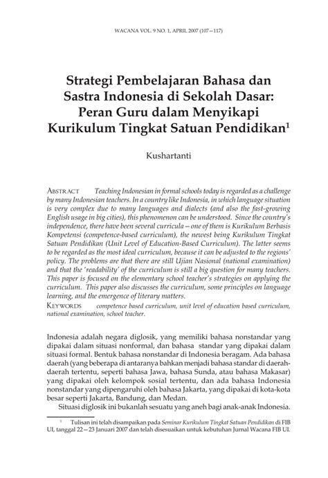 strategi pembelajaran bahasa  sastra indonesia