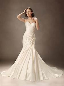 trumpet mermaid sweetheart court train ivory satin wedding With ivory mermaid wedding dress