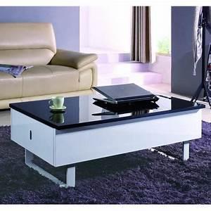 Table Basse Multifonction : table basse relevable multifonction laque noir et blanc ~ Premium-room.com Idées de Décoration
