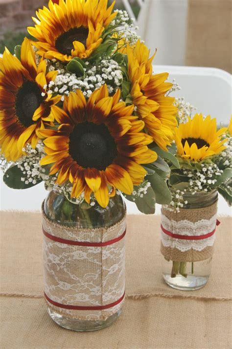 Sunflowers And Babys Breath In A Mason Jar As Rustic