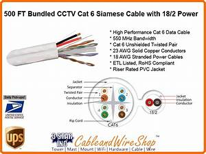 Bundled Category 6 Cat6 Cable With 18  2 Siamese For Cctv