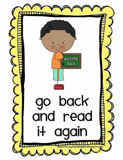 Reading Strategies Clipart Strategy Again Read Posters