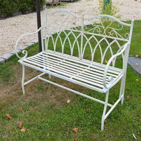 Banc De Jardin Metal Blanc  Aspect Ancien  Bca Matériaux
