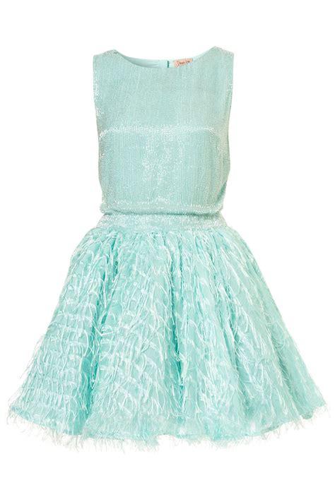 topshop mint sequin fringe dress  dress  topshop