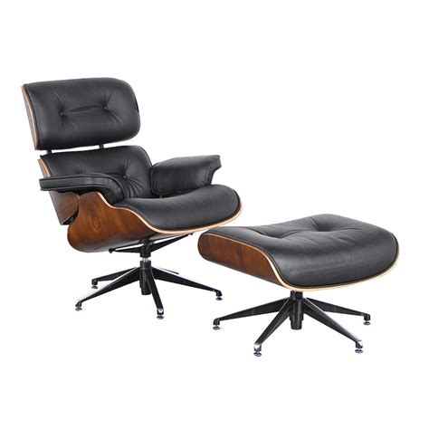 the lounger chair footstool classic black leather