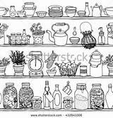 Rustic Doodle Coloring Shutterstock Drawing Seamless Adult Shelves Cooking Kitchenware Sketchy Doodles Draw Stuff Tegninger sketch template