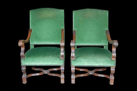 Pair Of French Upholstered Armchairs For Sale