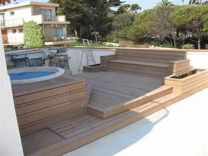 amenagement terrasse bois terrasse en bois et balcon With amenagement terrasse en bois