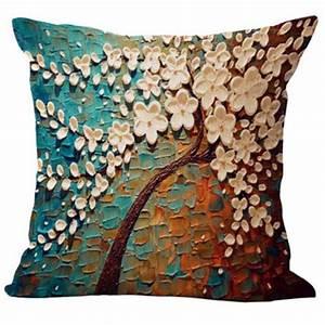 Floral Cotton Linen Pillow Case Waist Back Throw Cushion
