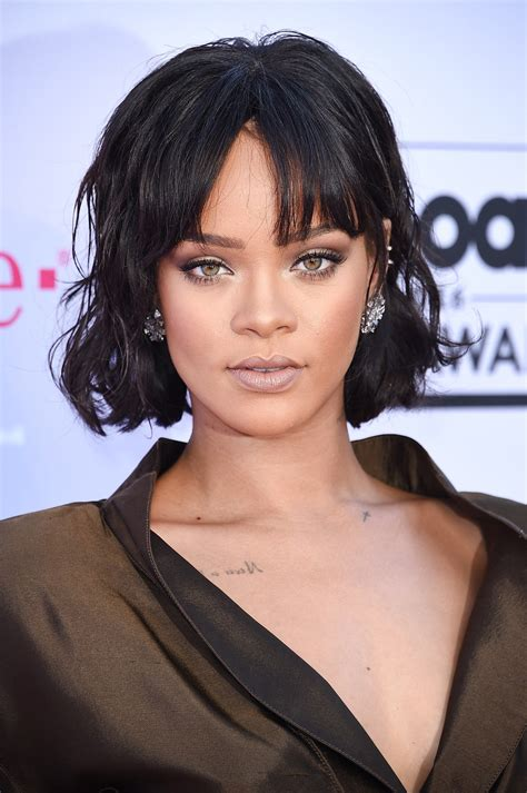 rihanna short hair   cute  bangs  bob glamour