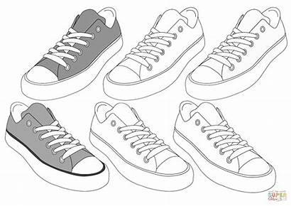Coloring Sneakers Sneaker Nike Colorear Dibujos Printable