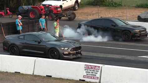 Shelby Gt350 Vs Hellcat Charger 1/4 Mile Drag Race