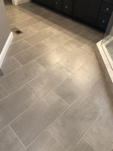 Grauer Boden by Skybridge 12x24 Gray Floor Tile Installed Brick Joint