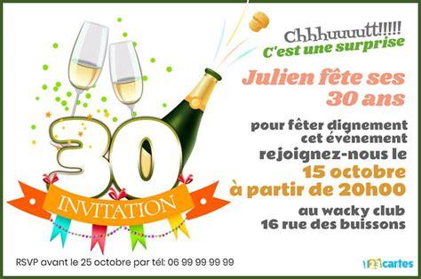 Invitation Anniversaire 30 Ans Champagne