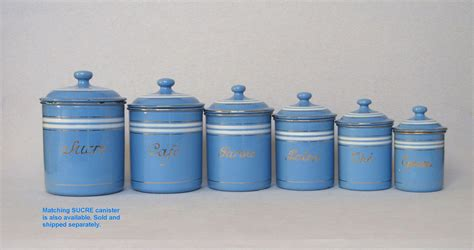 blue kitchen canisters set of sky blue french enamel graniteware kitchen canisters from yesterdaysfrance on ruby lane