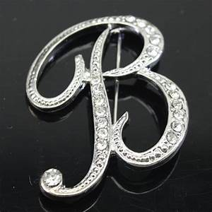 fashion 26 charm initial letter brooch crystal pins and With letter brooch