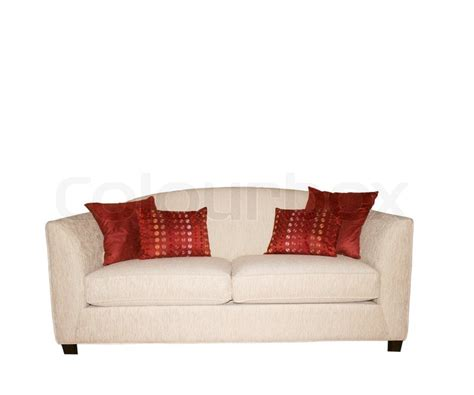 red and white sofa white sofa with decorative red pillows isolated on white