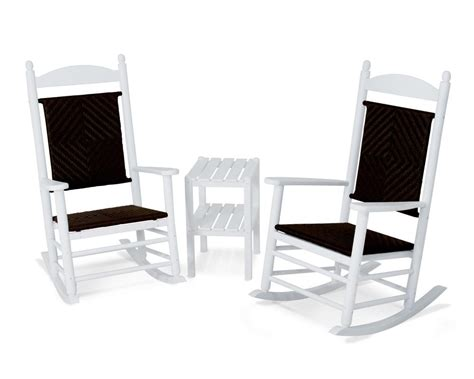 polywood jefferson style 3 outdoor rocking chair set
