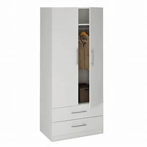 Armoire Blanche 2 Portes : washington armoire 2 portes 2 tiroirs blanc achat vente armoire de chambre washington ~ Teatrodelosmanantiales.com Idées de Décoration