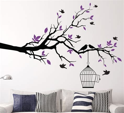 home wall decor stickers aliexpress buy tree branch with bird cage wall