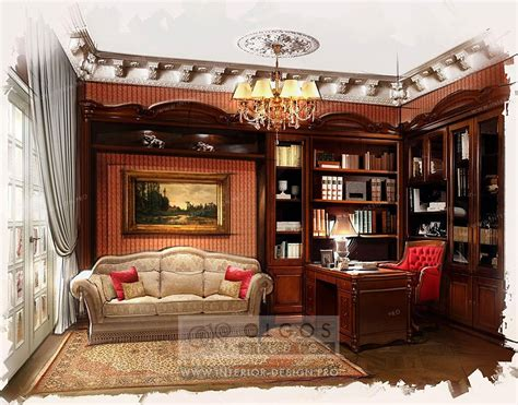 decorating style interior design of a study photos and 3d visualisations of study interiors