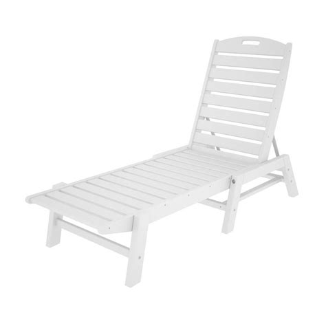 chaise longue plastique shop polywood nautical white plastic stackable patio