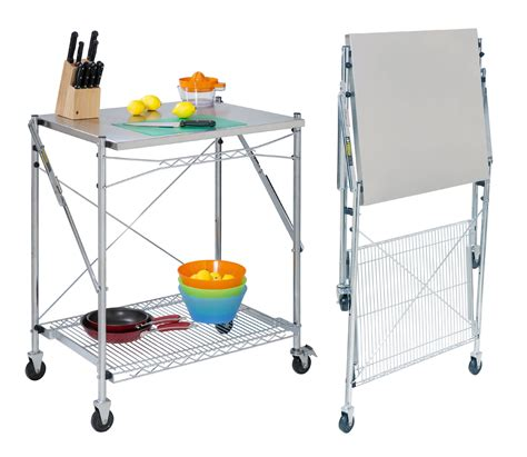 table cuisine retractable stainless steel folding utility table in kitchen island carts