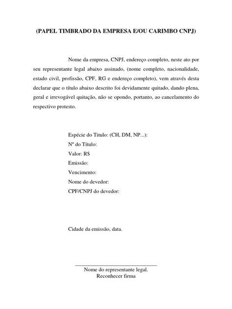 Carta de Anuência - Quitação de Pessoa Jurídica para