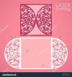 Laser cut wedding invitation card template vector die cut for Round laser cut wedding invitations