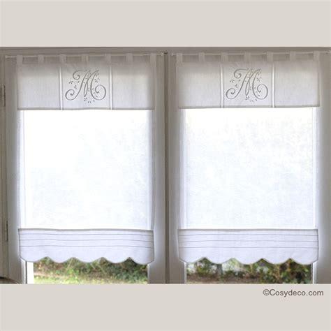 boutique rideau brise bise blanc monogramme 45x90 cm