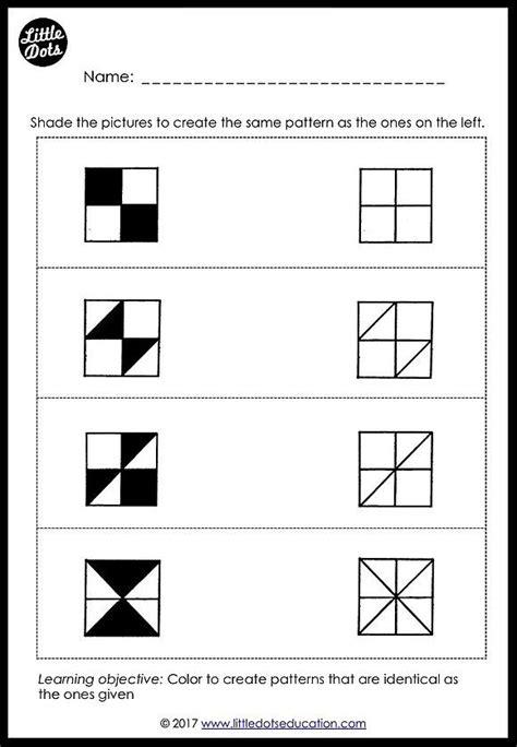 preschool patterns matching worksheets  activities