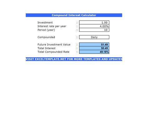 Compound Interest Calculator  Excel Templates  Excel Spreadsheets  Excel Templates Excel