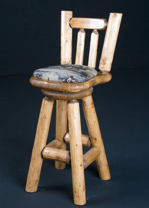 Log Stool - rustic cabin pine log bar stool 30 quot cushion seat w back