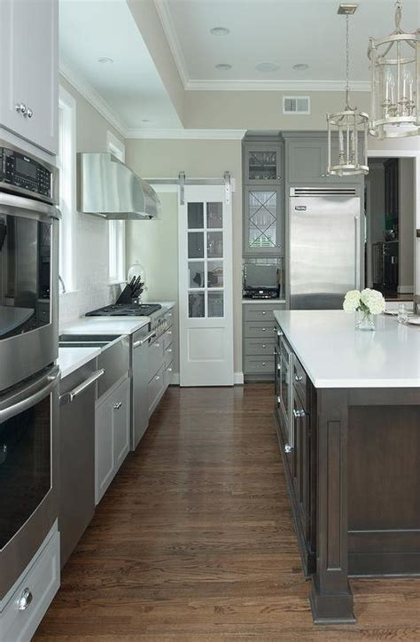 Walk In pantry with Glass Door on Rails Transitional
