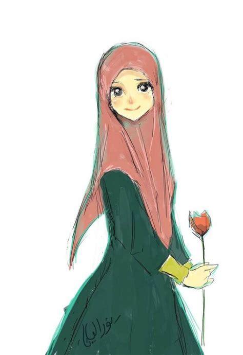 Gambar Kartun Muslimah Hijab Cantik Tutorial Hijab Terbaru