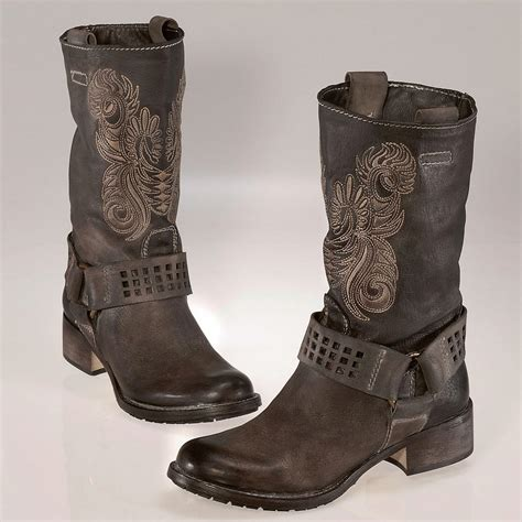 biker boots for buy embroidered biker boots 3 year product guarantee