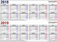 Two year calendars for 2018 & 2019 UK for Word
