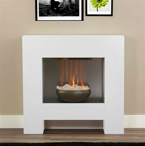 fireplace pebbles electric white surround pebble modern contemporary