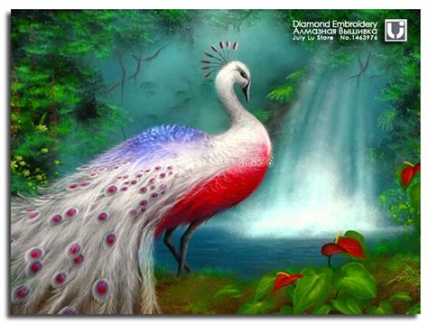 dreamy scenery diamond embroidery animal peacock painting