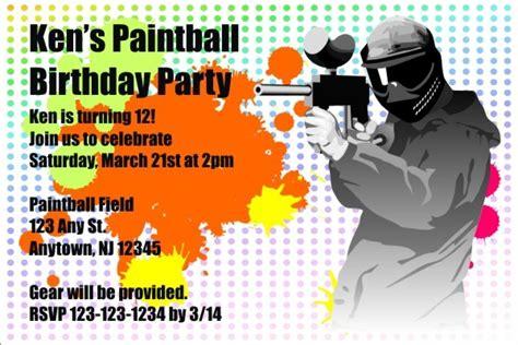paintball party invitations shilohmidwiferycom