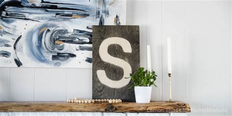 Rustic Stained Diy Plywood Monogram Sign