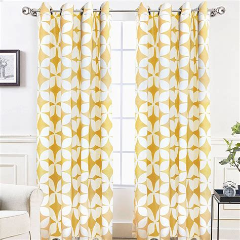 Pattern Drapes - bright mustard yellow and white geometric pattern modern