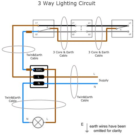 Commercial Wiring 3 Way Switch Schematic by Three Way Lighting Circuit Wiring Sparkyfacts Co Uk
