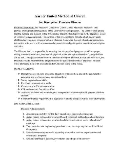 Garner United Methodist Church Job Description: Preschool