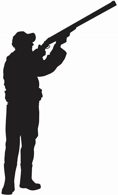 Hunter Silhouette Clip Clipart Gun Transparent Silhouettes