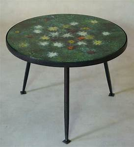 coffee table with colourful enameled top france 1950s With colourful coffee table