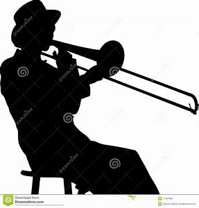Young Woman Trombone Player In Silhouette Stock Vector ...